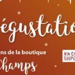 Dégustation à la boutique Ô champs (la Boissière) le samedi 9 décembre 2017