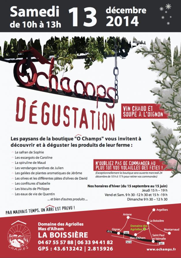 Dégustation à La Boissière ce samedi 13 décembre