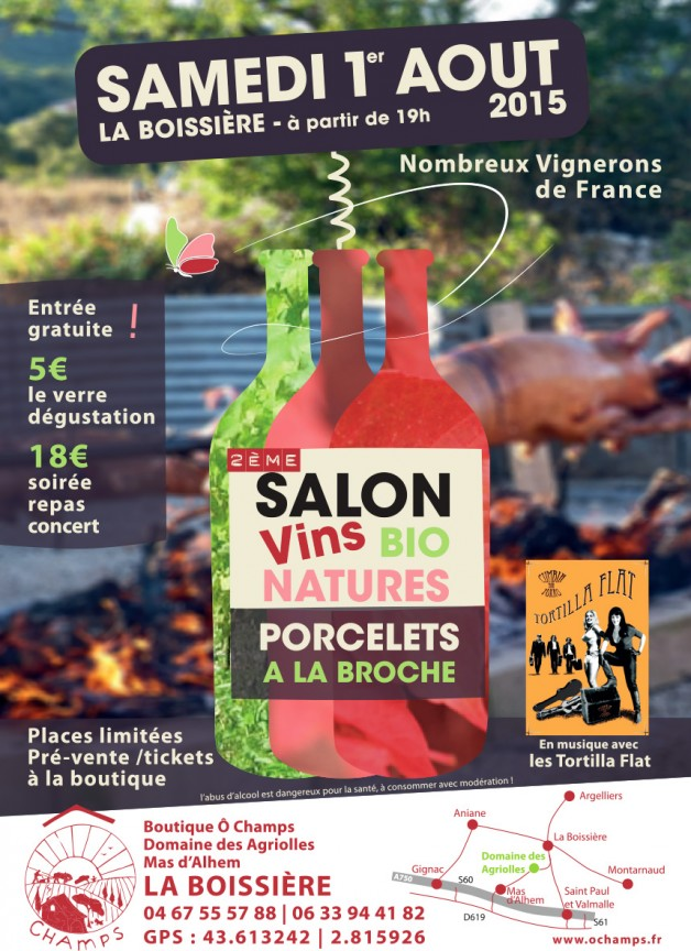 2ème Salon Vins Bio Natures – le 1er Août 2015 à La Boissière