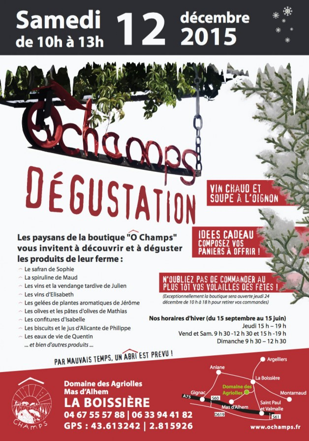 Dégustation samedi 12 décembre à la Boissière