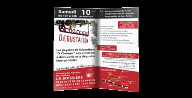 Dégustation boutique Ô Champs le 10 décembre 2016
